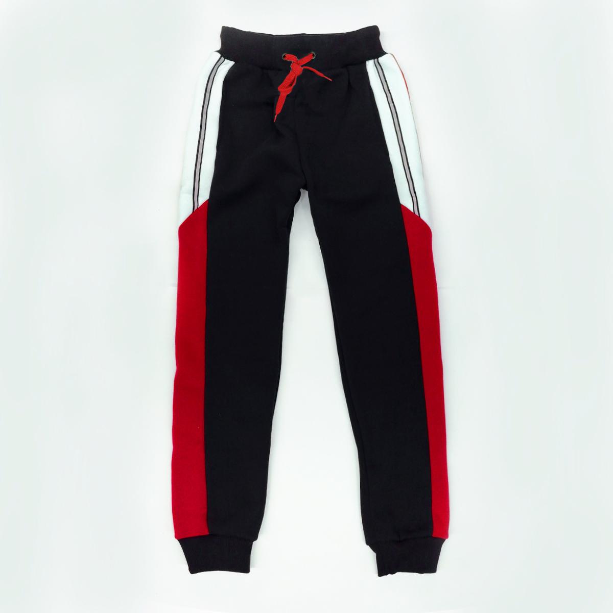 Штаны утепленные для мальчика SmileTime Streak, черные с красным