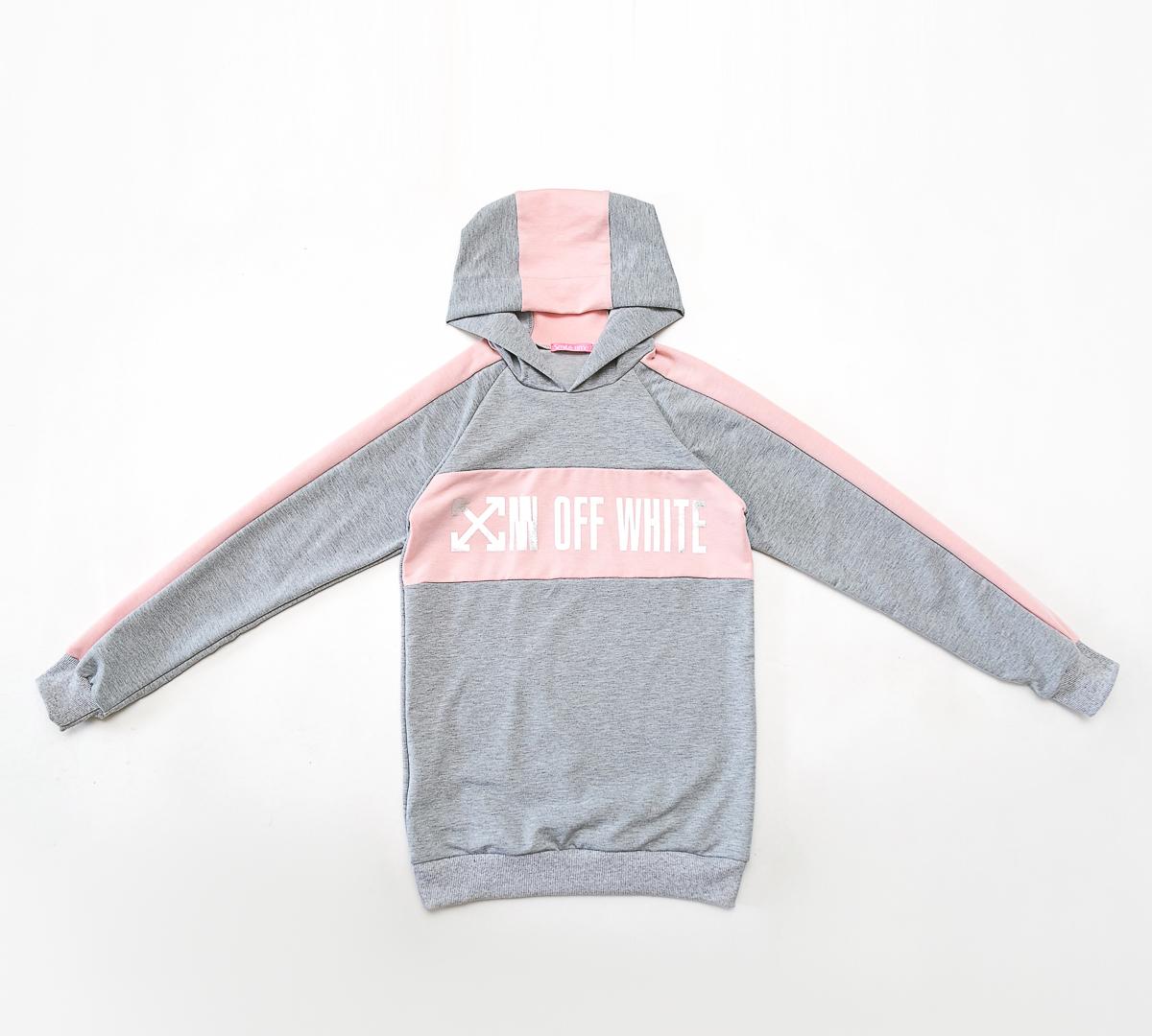 Худи для девочки SmileTime Fashion, серая с розовым