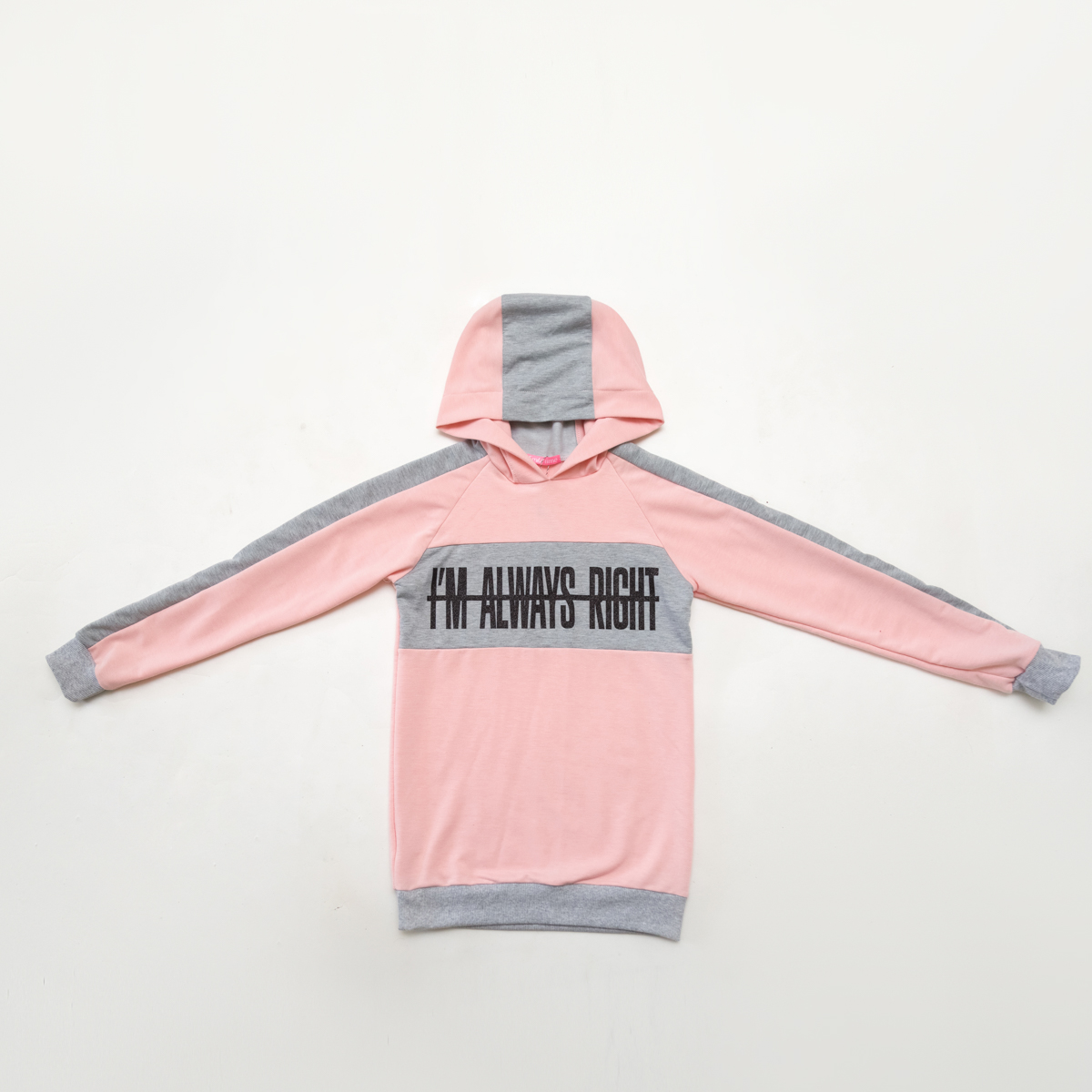 Худи для девочки SmileTime Fashion, розовая с серым