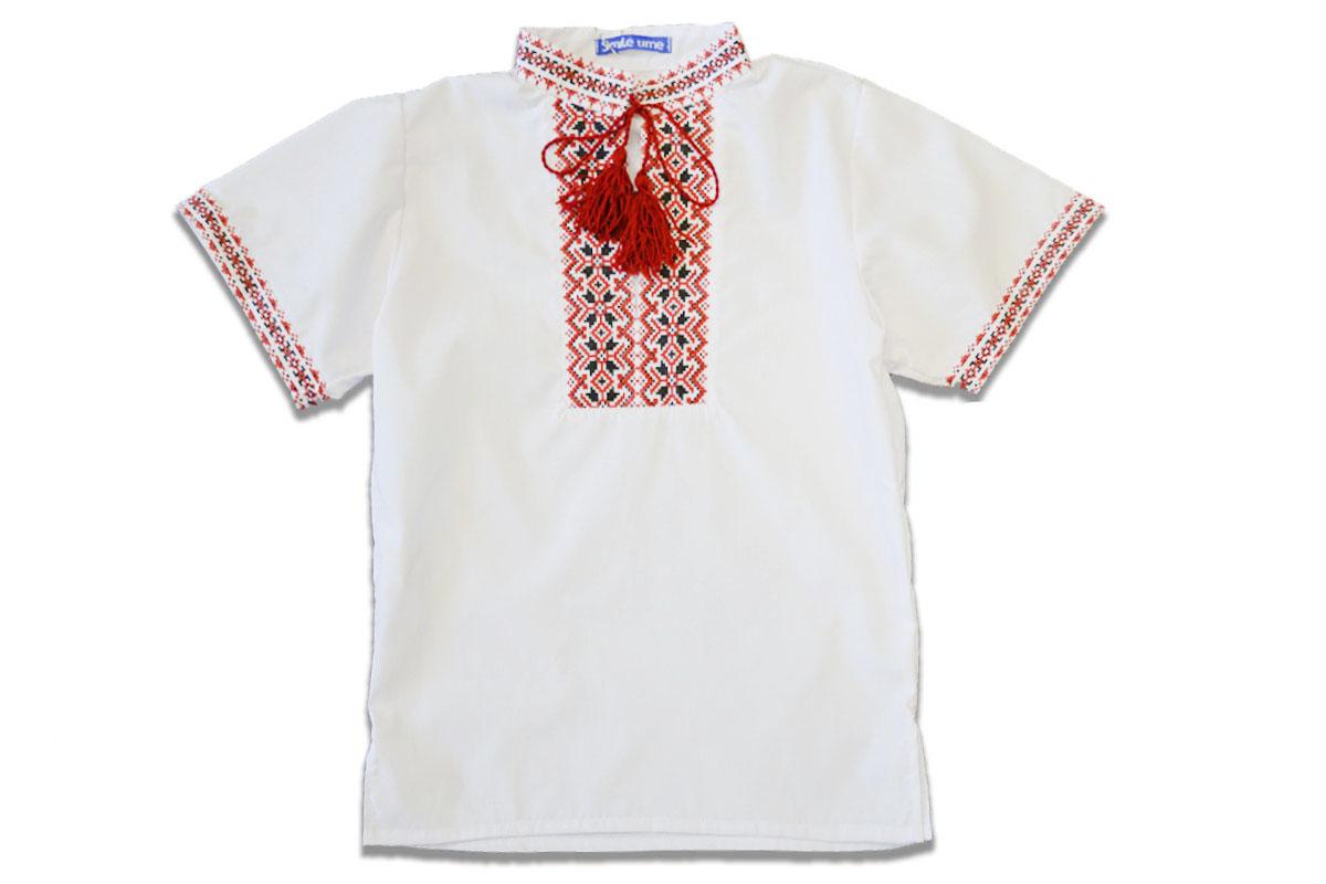 Вышиванка SmileTime для мальчика с коротким рукавом, красный узор