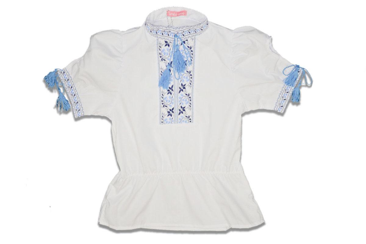 Вышиванка SmileTime для девочки с коротким рукавом, голубой узор