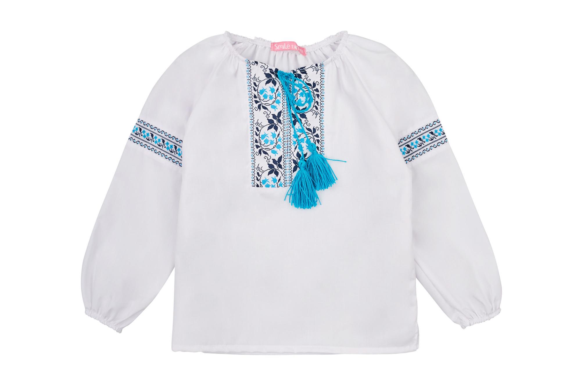 Вышиванка SmileTime для девочки с длинным рукавом, голубой узор