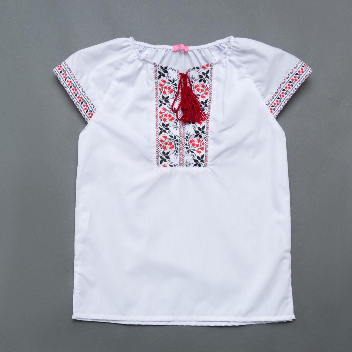 Вышиванка для девочки SmileTime Ethnic, красный узор