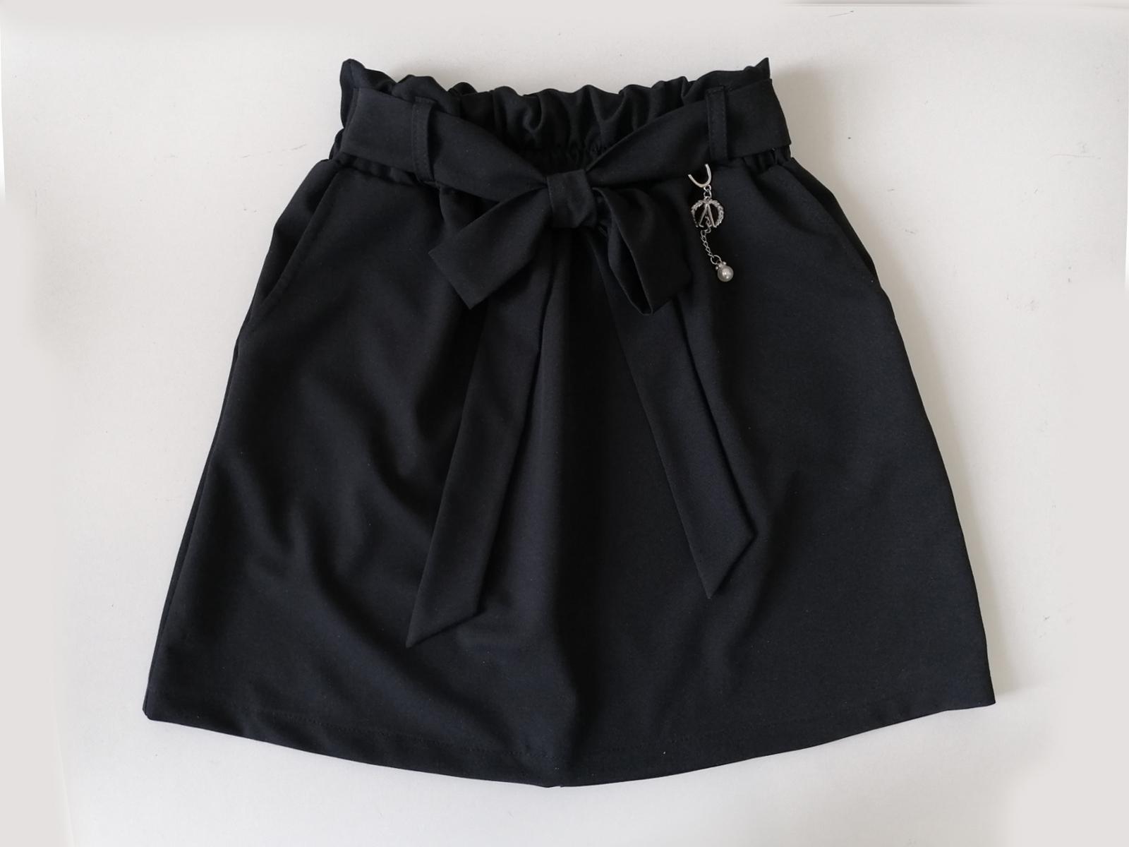 Спідниця для дівчинки з кишенями, шкільна, чорна Nice, SmileTime