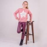 Лосины SmileTime для девочки кожаные на велюре Dusty, бордо
