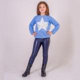 Лосины для девочки SmileTime кожаные на велюре Dusty, синие