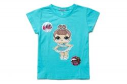 Футболка SmileTime для девочки детская Doll Miss Baby, голубая