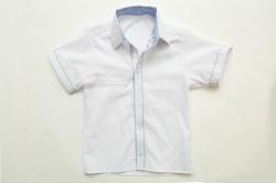 Рубашка SmileTime для мальчика с коротким рукавом на кнопках Кант, белая с голубым