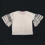 Блузка для девочки, белая, с рукавами из фатина, Courtney SmileTime