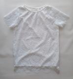 Блузка для дівчинки біла, короткий рукав, мереживна, Eva SmileTime