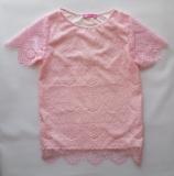 Блузка для дівчинки, короткий рукав, мереживна, рожеваEva SmileTime