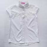 Блузка сорочка для дівчинки підлітка, короткий рукав, біла, Felicity, SmileTime