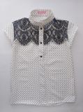Блузка сорочка для дівчинки підлітка, короткий рукав, біла в горошок, Felicity, SmileTime