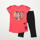 Комплект SmileTime футболка и капри для девочки Lovely, коралл с черным