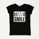 Футболка молодіжна для дівчинки, TimeS, чорна, SmileTime