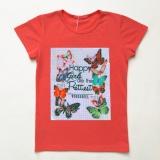 Футболка SmileTime для девочки Butterflies, коралловый