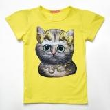 Футболка SmileTime детская для девочки Cute kitten, лимонный