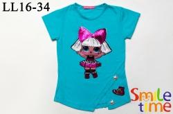 Футболка SmileTime для девочки Doll Diva, голубая