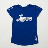 Футболка SmileTime детская для девочки с уголком Lovely, синяя