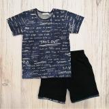 Костюм детский для мальчика, футболка и шорты, Fun, синий, SmileTime