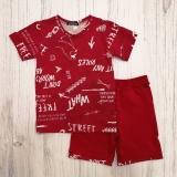 Костюм для мальчика футболка и шорты Fun, красный, SmileTime