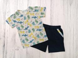 Костюм детский для мальчика, футболка и шорты, Dino, серый SmileTime