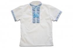Вышиванка SmileTime для мальчика с коротким рукавом, голубой узор