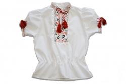 Вышиванка SmileTime для девочки с коротким рукавом, красный узор