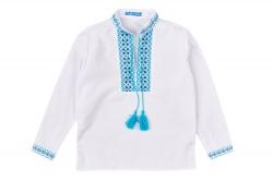 Вышиванка SmileTime для мальчика с длинным рукавом, голубой узор (ДЕТСКАЯ)
