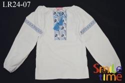 Вышиванка SmileTime для девочки с длинным рукавом, голубой узор (ДЕТСКАЯ)