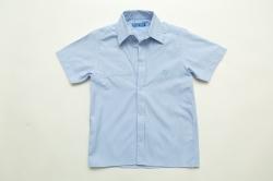 Рубашка SmileTime для мальчика с коротким рукавом на кнопках Клетка, голубая