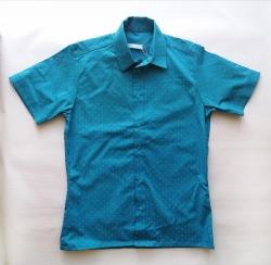 Рубашка детская с коротким рукавом, для мальчика, бирюзовая SmileTime Touch
