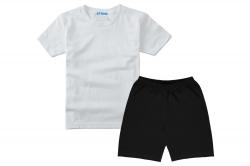 Костюм спортивный SmileTime футболка и шорты Sport, белый с черным