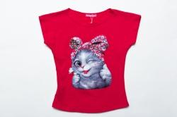 Футболка SmileTime для девочки детская Cute Cats, розовый коралл