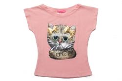 Футболка SmileTime для девочки детская Cute Cats, пудра