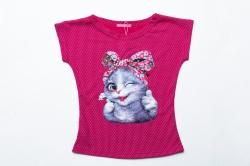 Футболка SmileTime для девочки детская Cute Cats, малиновый горох