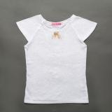 Блузка для дівчинки, короткий рукав, ажурна з брошкою, біла, SmileTime Azhur