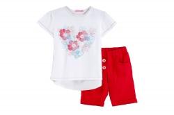Костюм SmileTime для девочки Flower Heart шорты и футболка, красный