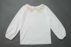 Блузка SmileTime для девочки с воротником Claire, молочная