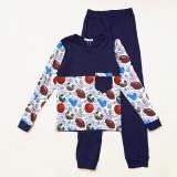 Пижама SmileTime детская для мальчика Sport Time, темно-синяя