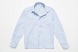Рубашка SmileTime для мальчика с длинным рукавом детская на кнопках Полоса, голубая