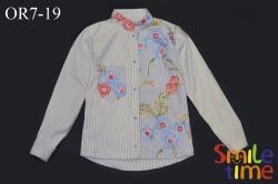 Рубашка SmileTime для девочки с длинным рукавом Flower с вышивкой, синяя
