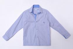 Рубашка SmileTime для мальчика с длинным рукавом детская на кнопках Strip, ингдиго