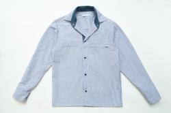 Рубашка SmileTime для мальчика с длинным рукавом на кнопках Полоса, индиго