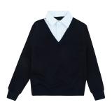Кофта-обманка SmileTime для мальчика Scholar, синий с белым в точку
