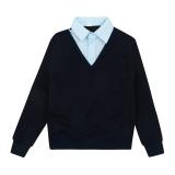 Кофта-обманка SmileTime для мальчика Scholar, синий с голубым в точку