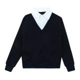 Кофта-обманка для мальчика, темно-синяя с белым, SmileTime Scholar