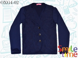 Кофта-пуловер SmileTime для девочки на пуговицах, темно-синий