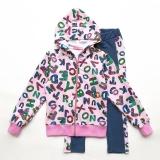 Костюм спортивный SmileTime детский для девочки Cool Letters, розовый с синим