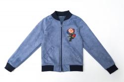 Бомбер SmileTime для девочки замшевый New Look, серо-голубой